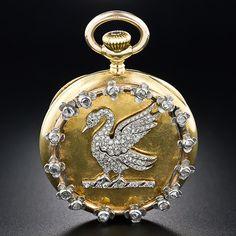 Antique Diamond Swan Pendant Watch