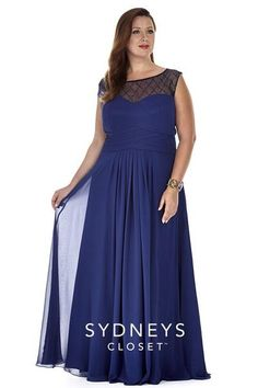 Stylish plus size navy formal dress with cap sleeves and a net bodice with bead work.