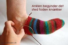 Opskrift på sokker der strikkes fra tåen og op