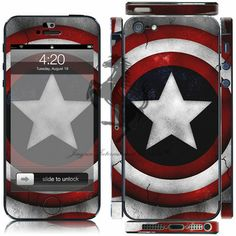 Wholesale Cartoon Captain America Avenger kawaii Full body skin sticker for iphone 5 5s decal sticker free shipping € 3,72