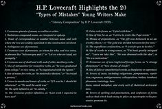 Lovecraft's Advice to Young Writers