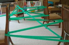 Jungle Vine gross motor activity.  Great activity for jungle or rain forest theme or unit.  Gets kids crawling, climbing, slithering, and scooting.  Perfect for toddlers, preschool, or elementary.