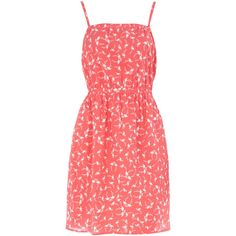 Pink flamingo midi beach dress ($12) ❤ liked on Polyvore featuring dresses, cotton dress, red print dress, pink dress, red dress and red midi dress