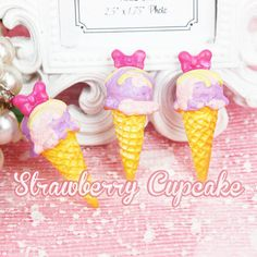 5 x Purple and Pink Bow Ice Cream Kawaii Cabochon Deco Miniature Fake Sweets Food Decoden Cabochons