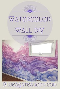 Little Girls' Room Update: Watercolor Wall DIY No need for expensive wallpaper— create your own watercolor wall! Check out this DIY and have a beautiful boho feature wall of your own. Diy Wall Painting, Painting Trim, Home Depot, Expensive Wallpaper, Free Hand Drawing, Watercolor Walls, Little Girl Rooms, Room Paint, Wall Colors