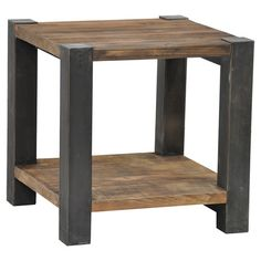 Add a rustic-chic touch to your living room or den with this reclaimed pine wood end table, featuring an open display shelf and iron legs.