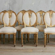 Vintage gilt dining chair set of 6, one of a kind, from @LaylaGrace.com, spotted on @Olioboard ~~ Gorgeous!