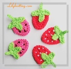 PATTERN – Crocheted Strawberry Applique — Flower 12 « Lilyknitting – Patterns and Crochet