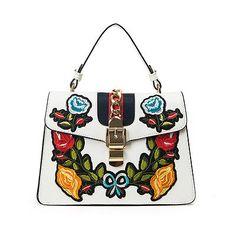 On trend floral embroidery bag eBay Embroidery Bags, Floral Embroidery, Satchel, Crossbody Bag, Tote Bag, Luxury Branding, Branding Design, Girl Backpacks, School Bags