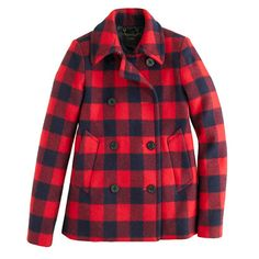buffalo check peacoat, j.crew