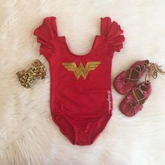 """How Gorgeous is this guys!😍😍😍 I've just been OBSESSED with red and gold! Featuring our """"Wonder Woman"""" inspired Red Flutter sleeve… Baby Girl Halloween, Baby Halloween Costumes, Baby Superhero Costume, Everyday Princess, Mr Men Little Miss, Girls Dress Up, Divas, Wonder Woman, Super Hero Costumes"""