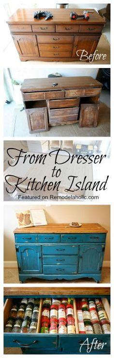Remodelaholic | Colorful Dresser To Kitchen Island Upcylce