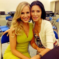 Julie Benz and Jaime Murray of #Defiance prepare to make their way on stage at #ComicCon!
