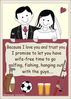 Humorous, modern wedding vows. Illustrations by Martinela Cartoons