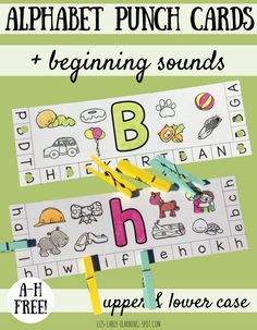 Practice letter recognition and beginning sounds while working on fine motor skills with these alphabet punch cards! (A-H free)