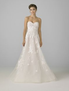 4de1506ecef09 3D flower bouquet embroidered tulle sweetheart strapless a-line gown. New  Wedding Dresses,