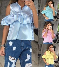 Blouses & Shirts Capable Women Shirt Blouse Summer Tops Short Butterfly Sleeve Shirts Vest O-neck Top Fashion Striped Hollow Out Streetwear Blouse Women