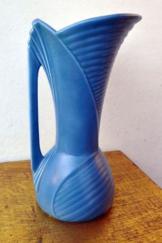 Antique 1930s Vintage Sylvac Blue Art Deco Jug Vase #1348 33cm England Old Rare