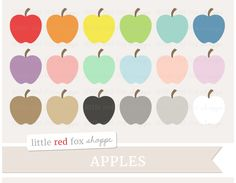 Apple Clipart Graphics by Little Red Fox Shoppe on @creativemarket