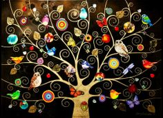 Artist Kerry Darlington - Tree of Life Gold Exclusive Unique Limited Edition with mixed media hand painted elements. Tree Of Life Artwork, Tree Of Life Painting, Tree Art, Kerry Darlington, Black Tree, Wow Art, Art Lessons, Art For Kids, Contemporary Art