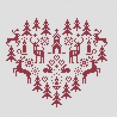 Christmas cross stitch pattern. This would be a cute knitted Christmas or winter pillow