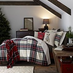 Layer your bed in classic comfort and style with the Tartan Plaid Duvet Cover from ED Ellen DeGeneres. A traditional plaid pattern in charcoal, hunter green and cranberry is set on an ivory ground - making it the perfect holiday bedroom accent. Plaid Bedding, Duvet Bedding, Plaid Bedroom, Comforter Sets, Green Duvet Covers, Bed Duvet Covers, Christmas Bedding, Black Bed Linen, Cheap Bed Sheets