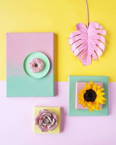 I painted more canvas panels, ombre and uni colored. These panels are great to use for flatlays and to display products Object Photography, Pattern Photography, Flat Lay Photography, Creative Photography, Candy Art, Creative Instagram Stories, Flatlay Styling, Colour Pallete, Summer Fruit