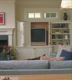 hiding television in cabinet