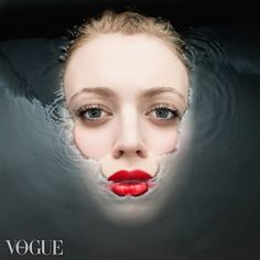 face in water with red lipstick | Vogue