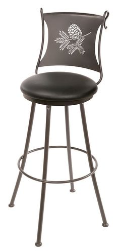 "Stone County Ironworks 902-764-LBK Pine Cone Barstool 30"" (with swivel)"