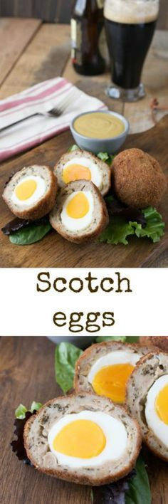 Scotch eggs are hard-boiled eggs wrapped in sausage meat, breaded and fried. Served with a delicious mustard dipping sauce, delicious British fare.