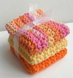 Crochet Dishcloths Washcloths - Set of 3 - For Kitchen, Bathroom, Baby - Yellow, Orange, Hot Pink - 100% Cotton