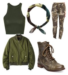 Army print by preciousliljane on Polyvore featuring polyvore fashion style Topshop Chicsense Steve Madden New Look clothing