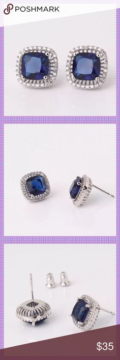 HPSTUNNING Blue Sapphire Swarovski Earrings GORGEOUS Blue Sapphire Swarovski Crystal Stud Earrings surrounded by clear Swarovski Crystals. 18K White Gold Filled, Look amazing dressed up or worn with jeans & T-Shirt Boutique Jewelry Earrings