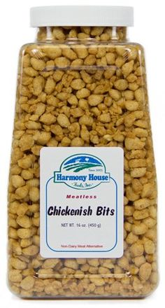 Harmony House Foods Textured Vegetable Protein (TVP) Chickenish Bits (16 oz, Quart Size Jar) ** Find out @ https://www.amazon.com/gp/product/B0039QW1T0/?tag=homeimprtip08-20&phi=300716060917