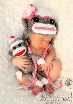 new born in sock monkey outfit | Found on pearls-curlsandasoutherngirl.tumblr.com