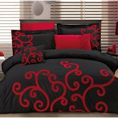 This duvet cover set features a luxuriously soft finish and resists wrinkles thanks to its Egyptian cotton craftsmanship. Taupe Comforter, Black Comforter Sets, Full Size Comforter Sets, Red Bedding Sets, Bedroom Comforter Sets, Red And Black Bedding, Red Bedroom Decor, Console, Colorful Interior Design
