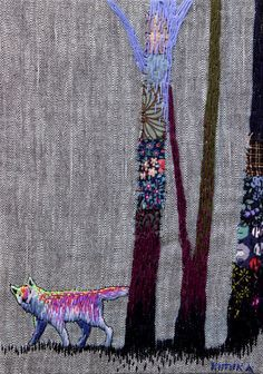 Embroidery Fox, trees and flowers
