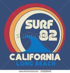 Font/Icon Surf California typography, t-shirt graphics, vectors - stock vector Surf Design, Design Retro, Logo Design, T Shirt Design Vector, Typography Design, Vintage Surfing, California Logo, Surf Logo, Retro Surf
