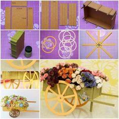 DIY Pouco Papelão Wagon carregando flores Decoração 1