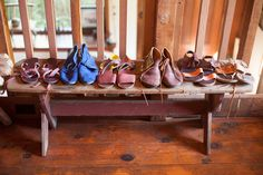 """A Sandal-Making Babe Shows Off Her Dreamy Cabin And Design Studio #refinery29  http://www.refinery29.com/rachel-corry#slide12  How did you get into sandal making?   """"It dawned on me in a car trip that I wanted to make shoes in my own little shop and that if I applied myself, I could probably figure it out. Shortly thereafter, I started gathering the information and tools.""""  A lineup of Rachel's creations."""