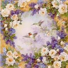 Hummingbirds with Roses by Lena Y. Liu