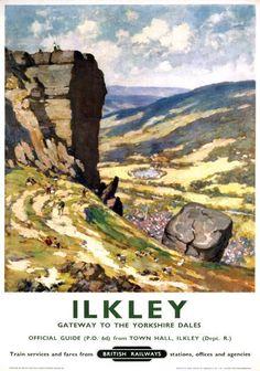 Ilkley West Yorkshire Vintage British Railway Travel poster-    ~~  Ilkley moor bar tat !  ~~