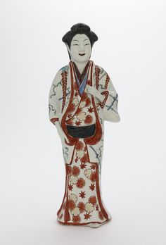 Figure of a standing woman. Edo period, 1670-1700. Japan. Porcelain with enamels over clear colorless glaze. Arita ware, Kakiemon type. Freer and Sackler Galleries Japan / Japanese Antiques / Japanese Art : More At FOSTERGINGER @ Pinterest️