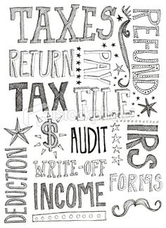 hand lettered tax words