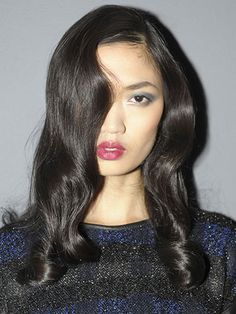 The shiniest Dark Brown Chocolate Hair Color ever at St John NYFW Fall/Winter 2013. eSalon.com #brunette