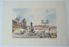 AQUILA - Piazza Del Duomo by Mario Carraro watercolor #Impressionism