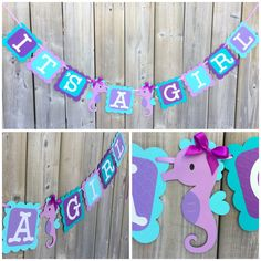 IT'S A GIRL banner, It's A Girl Seahorse Banner, Seahorse Baby Shower banner, Seahorse banner, Seahorse theme banner Purple Blue Teal by lilcraftychickadee on Etsy https://www.etsy.com/ca/listing/594319523/its-a-girl-banner-its-a-girl-seahorse