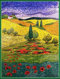 Landscape Mosaics   Eggshell mosaic - landscape