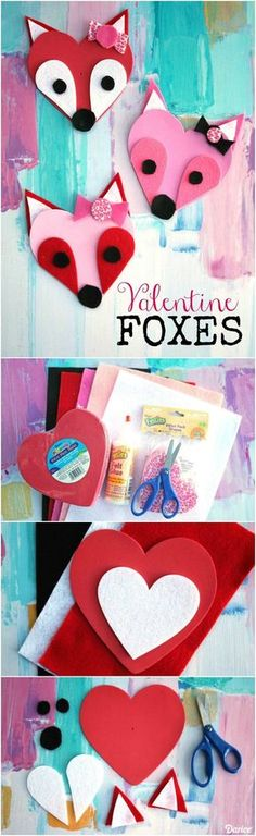 Valentine fox friends with craft foam hearts and felt.woodland creatures make perfect classroom valentines.